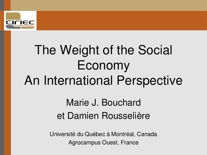 Séminaire The Weight of the Social Economy - An International Perspective